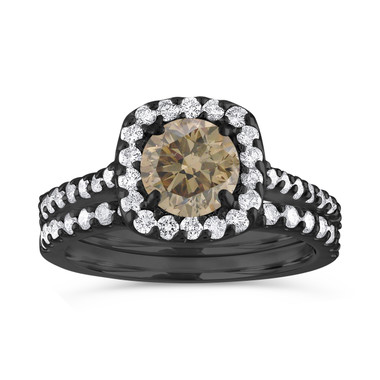 Halo Engagement Ring Set, Champagne Diamond Bridal Ring Sets, Brown Diamond Wedding Set, 1.87 Carat 14K Black Gold Unique Certified Handmade