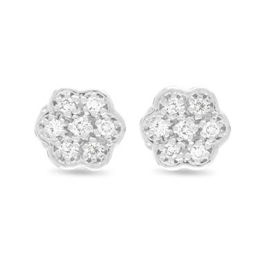 0.15 Carat Diamond Earrings, Flower Earrings, Stud Earrings, Tiny Diamond Earrings, Pave Earrings 14K White Gold Handmade Certified