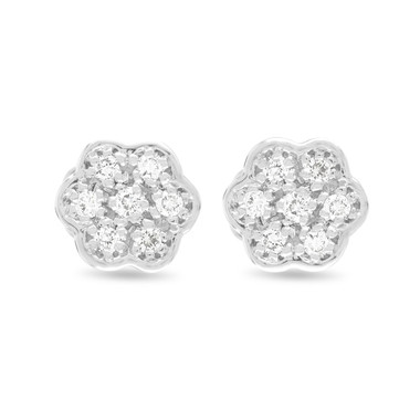 Platinum Diamond Earrings, Flower Earrings, Stud Earrings, Tiny Diamond Earrings, Pave Earrings, 0.15 Carat Handmade Certified