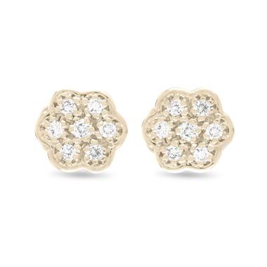 Diamond Flower Earrings, Stud Earrings, Tiny Diamond Earrings, Pave Earrings 0.15 Carat 14K Yellow Gold Handmade Certified