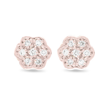 Flower Diamond Earrings, Rose Gold Stud Earrings, Tiny Diamond Earrings, Pave Earrings 0.15 Carat Handmade Certified