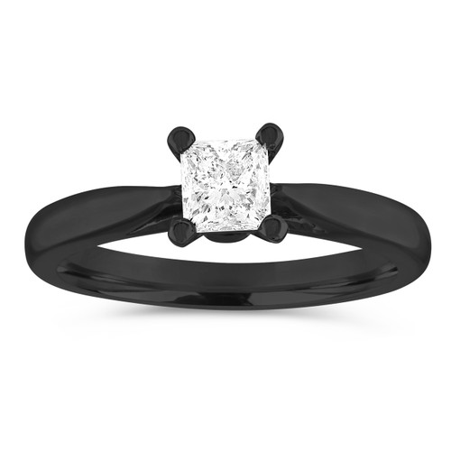Vintage Engagement Ring, Princess Cut Diamond Engagement Ring, 0.50 Carat Solitaire Bridal Ring, GIA Certified 14K Black Gold Handmade