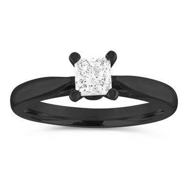 Vintage Engagement Ring, Princess Cut Diamond Engagement Ring, 0.50 Carat Solitaire Bridal Ring, GIA Certified 14K Black Gold Handmade
