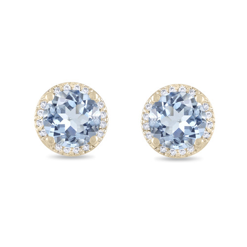 Aquamarine Stud Earrings, With Diamond Earrings, Halo Earrings, Micro Pave Earrings, 14K Yellow Gold 1.50 Carat Unique Handmade