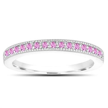 Pink Sapphire Wedding Band, Anniversary Ring, Sapphire Ring, 14K White Gold 0.16 Carat Handmade