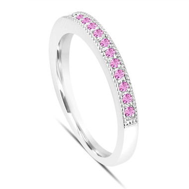 Platinum Pink Sapphire Wedding Band, Anniversary Ring, Stackable Womens Pave Ring, 0.16 Carat Handmade