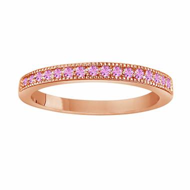 Pink Sapphire Wedding Band, Rose Gold Anniversary Ring, Sapphire Ring, 0.16 Carat Handmade