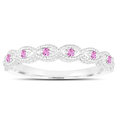 Pink Sapphire Wedding Band, Anniversary Ring 14K White Gold Vintage Antique Style Engraved 0.10 Carat