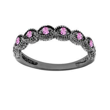 Pink Sapphire Wedding Band, Vintage Wedding Ring, Anniversary Ring 14K Black Gold Antique Style Engraved 0.10 Carat