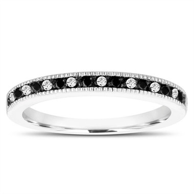 Black and White Diamonds Alternating Wedding Band, Anniversary Ring, Fancy Wedding Ring, Stackable 14K White Gold Handmade Pave 0.16 Carat