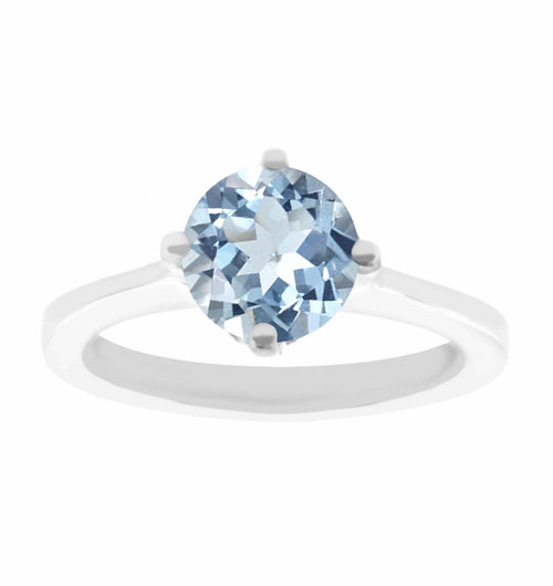 Unique Aquamarine Engagement Ring, Solitaire Engagement Ring, Bridal Ring, Gallery Designs Ring 0.92 Carat 14K White Gold Handmade Certified