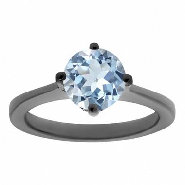 Vintage Aquamarine Engagement Ring, Solitaire Engagement Ring, Unique Bridal Ring Gallery Designs 0.92 Carat 14K Black Gold Handmade