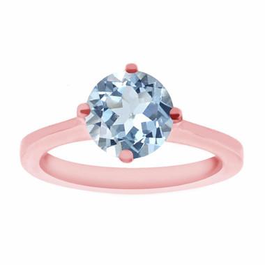 Rose Gold Aquamarine Engagement Ring, Solitaire Engagement Ring, Bridal Ring, Gallery Designs Ring 0.92 Carat Handmade Certified