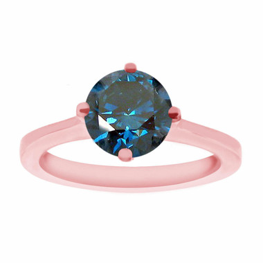 Blue Diamond Solitaire Engagement Ring, Unique Bridal Ring, 1.02 Carat 14K Rose Gold Gallery Design Certified Handmade