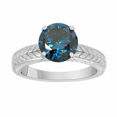 Blue Diamond Engagement Ring, Solitaire Engagement Ring, Unique Bridal Ring, 1.40 Carat 14K White Gold Certified Handmade