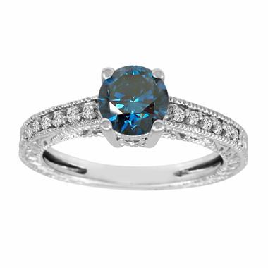 Vintage Engagement Ring, Blue Diamond Engagement Ring, Bridal Ring, 1.14 Carat 14K White Gold Antique Style Engraved Handmade