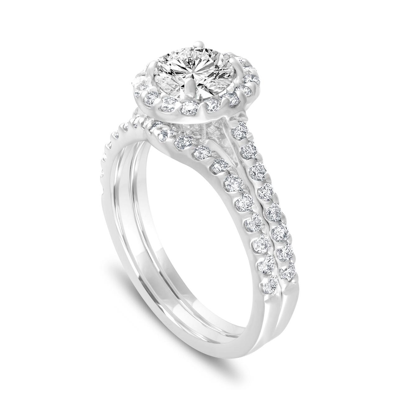 Wedding Ring Sets.1 84 Carat Diamond Engagement Ring Set Halo Bridal Ring Sets Gia Certified Pave Wedding Rings Set 14k White Gold Handmade