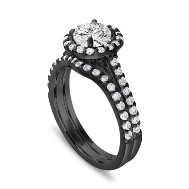 Vintage Diamond Engagement Ring Set, Unique Bridal Ring Sets, Wedding Ring Sets, Gia Certified Halo Pave 14k Black Gold 1.84 Carat Handmade