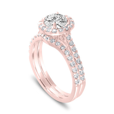 Rose Gold Halo Engagement Ring Sets, Diamond Engagement Ring Set, Gia Certified Bridal Ring Set, Pave Wedding Ring Set, 1.84 Carat Handmade