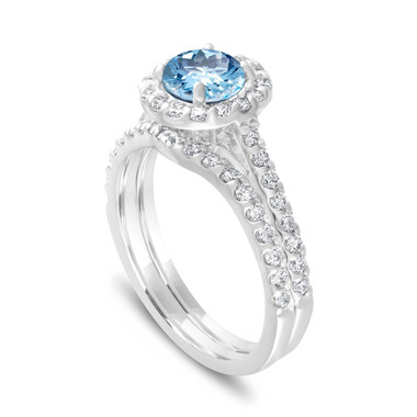 Aquamarine Engagement Ring Set, With Diamonds Bridal Ring Sets, Wedding Ring Set, 1.69 Carat 14K White Gold Certified Halo Pave Handmade