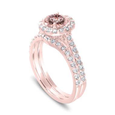 Morganite Halo Engagement Ring Set, Rose Gold Bridal Ring Sets, Peach Pink Morganite Wedding Ring Sets, 1.73 Carat Certified Pave Handmade