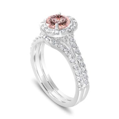 Morganite Engagement Ring Set, Diamonds Bridal Ring Sets, Pink Peach Morganite Wedding Ring Set 1.73 Carat 14K White Gold Halo Pave Handmade