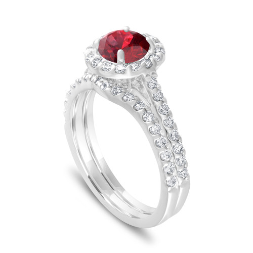 2 Carat Garnet Engagement Ring Set, With Diamonds Bridal Ring Sets, Red Garnet Wedding Ring Set, 14K White Gold Halo Pave Handmade