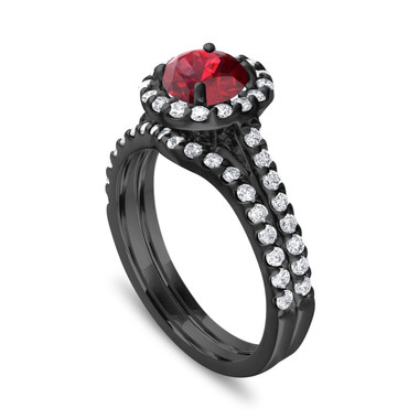 Vintage Garnet Engagement Ring Set, With Diamonds Bridal Ring Sets, Garnet Wedding Set, 14K Black Gold 2 Carat Certified Halo Pave Handmade