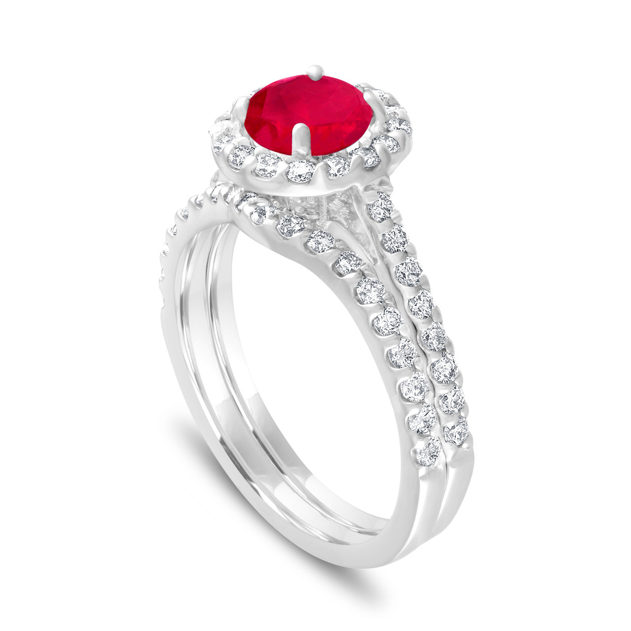 Ruby Engagement Ring Set With Diamonds Bridal Ring Sets Red Ruby