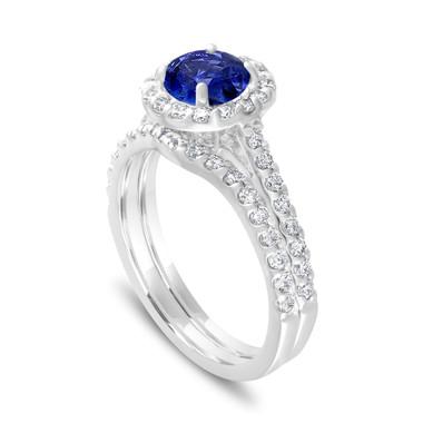 Sapphire Engagement Ring Set, Diamond Bridal Ring Sets ,Blue Sapphire Wedding Set, 1.83 Carat 14K White Gold Certified Halo Pave Handmade