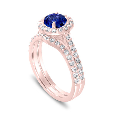 Blue Sapphire Engagement Ring Sets, Rose Gold Bridal Ring Set, Wedding Ring Sets, 1.54 Carat Certified Halo Pave Handmade