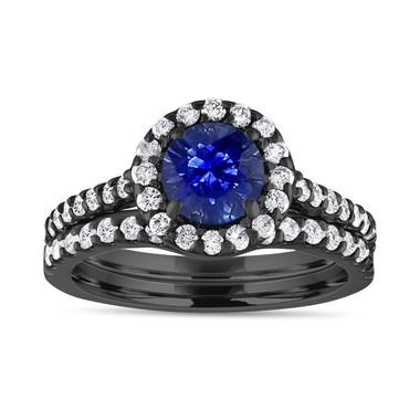 Vintage Sapphire Engagement Ring Set, Diamond Bridal Ring Sets ,Blue Sapphire Wedding Set, 1.83 Carat 14K Black Gold Certified Halo Handmade