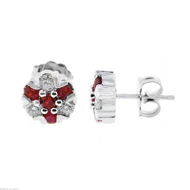 Ruby Stud Earrings, Diamond Cluster Earrings, Flower Earrings, Floral Earrings, 0.80 Carat 14k White Gold Unique Handmade