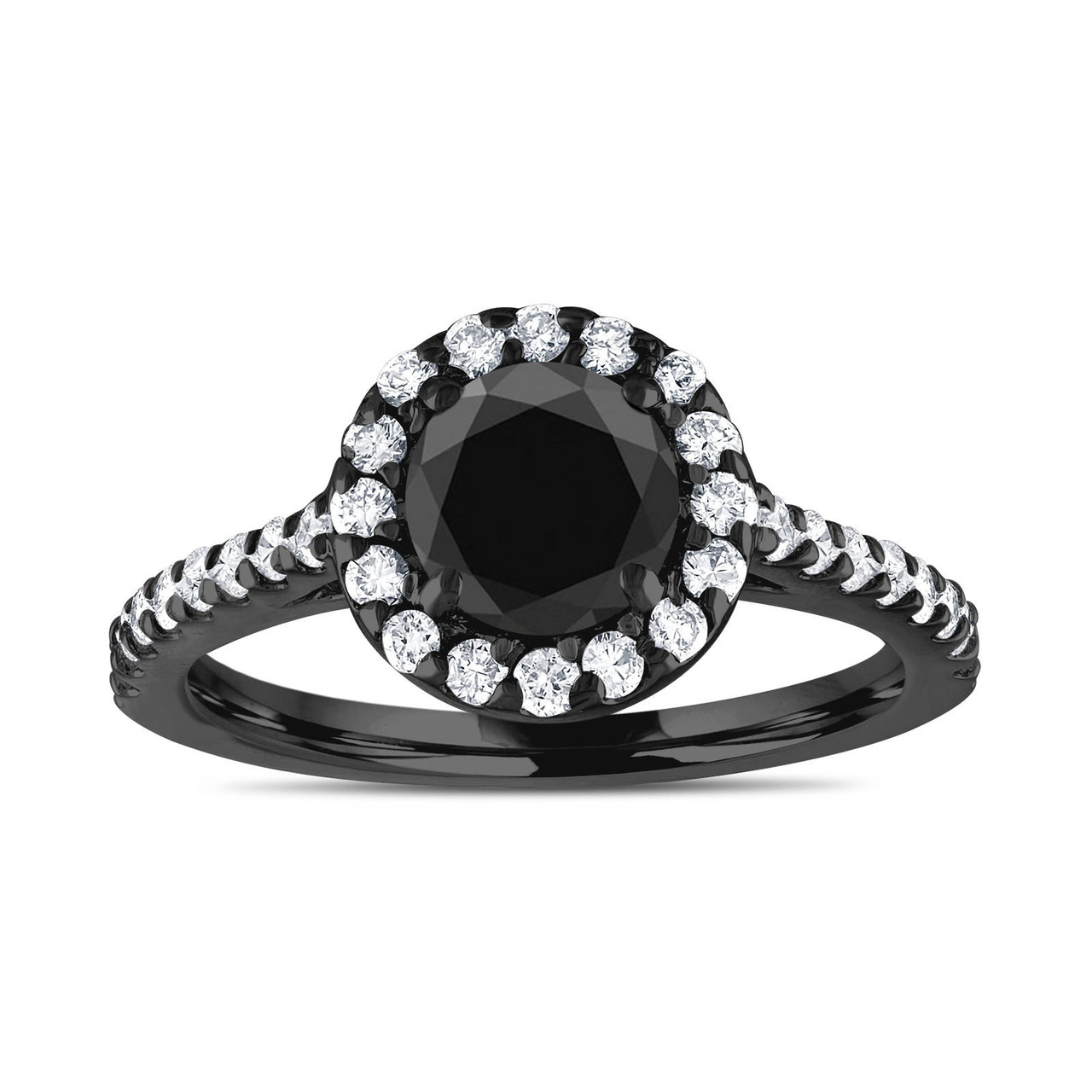 0be1e7dcd58d3 Vintage Halo Engagement Ring, Black Diamond Bridal Ring, 18K Black Gold  Anniversary Ring, 1.59 Carat Unique Pave Certified Handmade