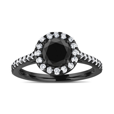 Vintage Halo Engagement Ring, Black Diamond Bridal Ring, 18K Black Gold Anniversary Ring, 1.59 Carat Unique Pave Certified Handmade