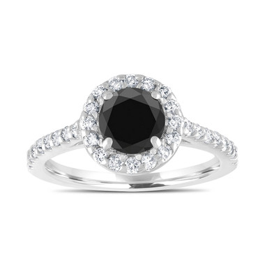 Platinum Black Diamond Engagement Ring, Halo Engagement Ring, Bridal Ring, 1.59 Carat Unique Pave Certified Handmade