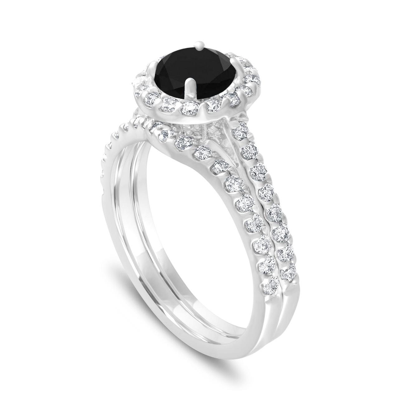 Engagement Ring Set Fancy Black Diamond Bridal Ring Sets Diamond