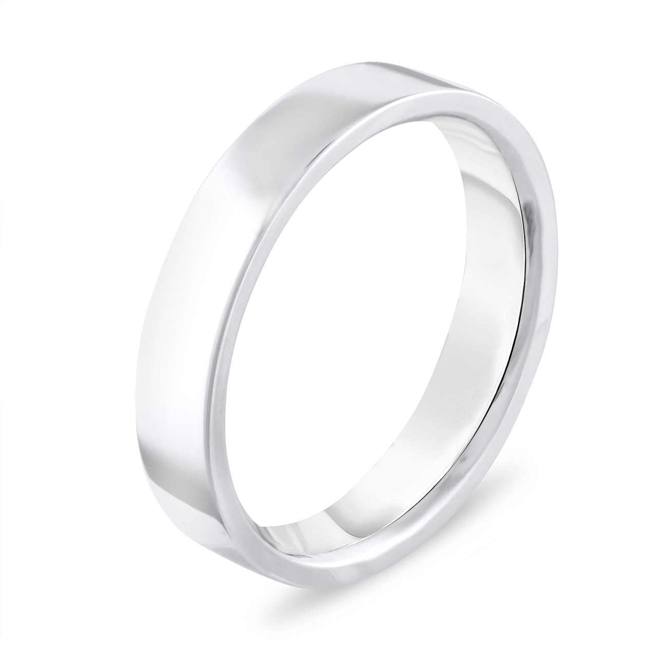 Wedding Band Men.4 Mm Wedding Band Flat Wedding Ring Wedding Band Mens Wedding Band Anniversary Band 14k White Gold Handmade
