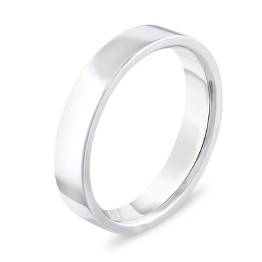 4 mm Wedding Band, Flat Wedding Ring, Wedding Band, Mens Wedding Band, Anniversary Band 14K White Gold Handmade