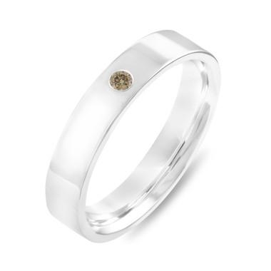 Champagne Diamond Wedding Band, Flat Wedding Ring, Wedding Band, Mens Wedding Band, 4 mm Anniversary Band 14K White Gold Handmade