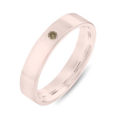 Rose Gold Diamond Wedding Band, Champagne Diamond Wedding Ring, Womens Wedding Band, Mens Flat Wedding Band, 4 mm Anniversary Band Handmade