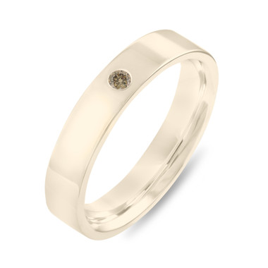 Gold Diamond Wedding Band, Champagne Diamond Wedding Ring, Womens Wedding Band, Mens Wedding Band, 4 mm Anniversary Band 14K Yellow Gold