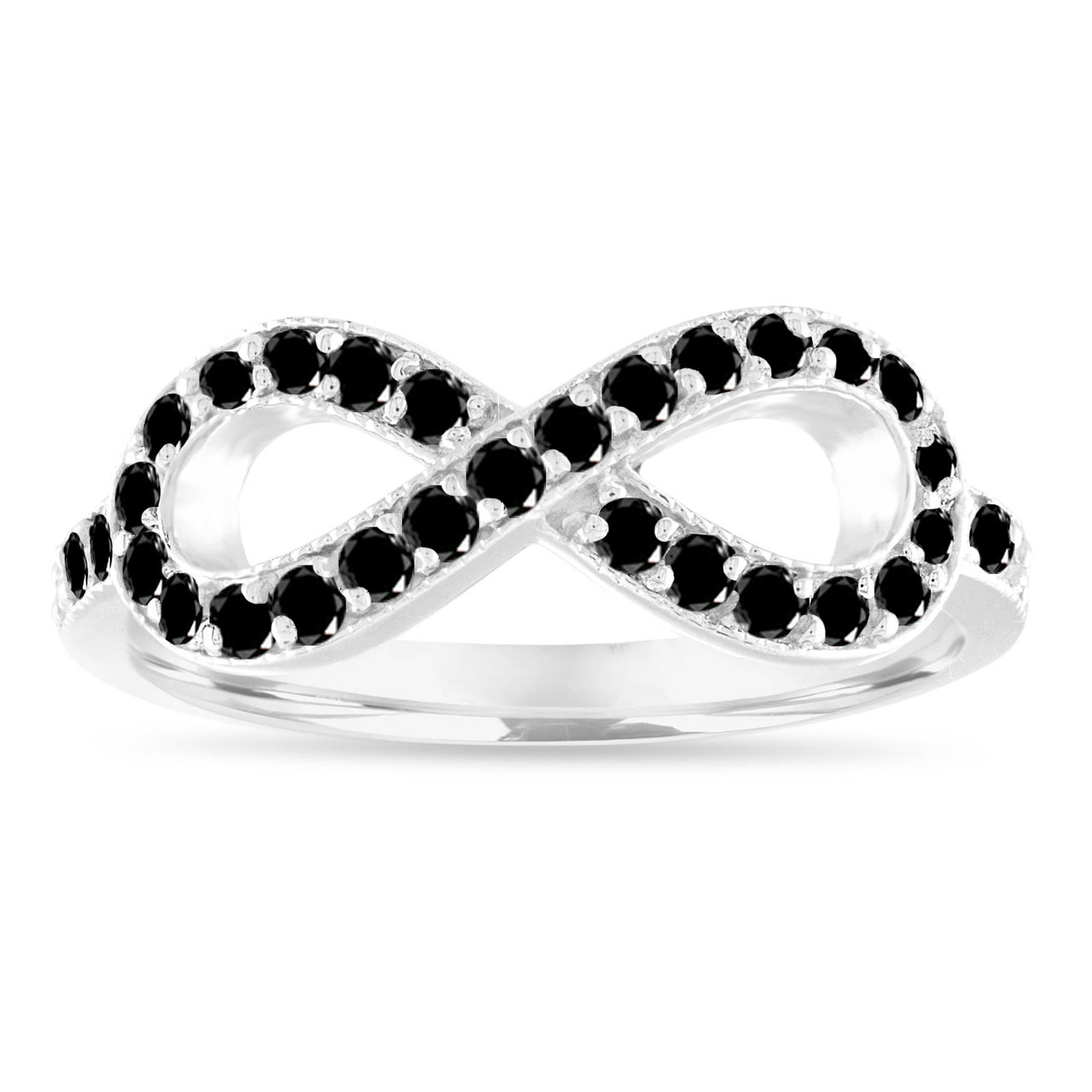 Black Diamond Wedding Ring Infinity Wedding Band Infinity Diamond