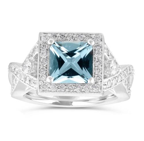 Aquamarine Engagement Ring, Unique Princess Cut Engagement Ring, Diamond Bridal Ring, Halo Pave 2.34 Carat Certified 14k White Gold Handmade