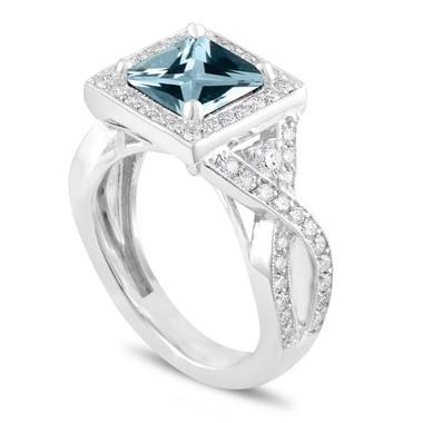 Aquamarine Cocktail Ring, Unique Princess Cut Anniversary Ring, Diamond Cocktail Ring, Halo 2.34 Carat Certified 14k White Gold Handmade