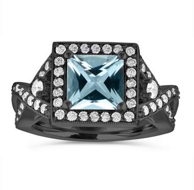Vintage Aquamarine Engagement Ring, Princess Cut Halo Engagement Ring, Unique Diamond Bridal Ring, 2.34 Carat 14k Black Gold Handmade