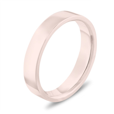 Rose Gold Wedding Band, Flat Wedding Ring, Womens Wedding Band, Mens Wedding Band, 4 mm Anniversary Band Handmade