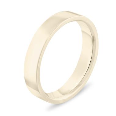 Gold Wedding Band, 14k Yellow Gold Wedding Ring, Womens Wedding Band, Mens Wedding Band, 4 mm Anniversary Band, Flat Wedding Band, Handmade