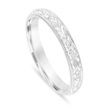 Hand Engraved Wedding Band, Vintage Wedding Ring, Womens Wedding Band, Unique Wedding Band, 3 mm Anniversary Band 14K White Gold Handmade