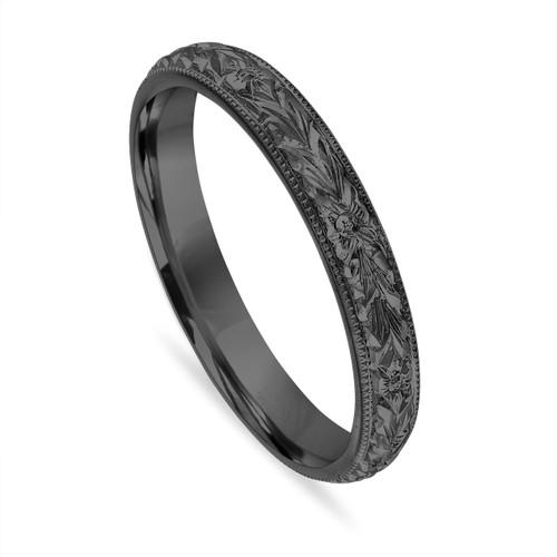 Vintage Wedding Band, Hand Engraved Wedding Ring, Black Gold Wedding Band, Unique Wedding Band, 3 mm Anniversary Band Handmade